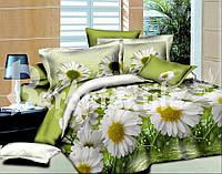 3D Семейное постельное бельё Ranforce - цветы на салатовом