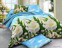 Комплект семейного постельного белья Ranforce - белые цветы