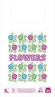 """Пакет майка """"Цветы"""" 34x58 (5 цветов) (уп.100 шт.)"""
