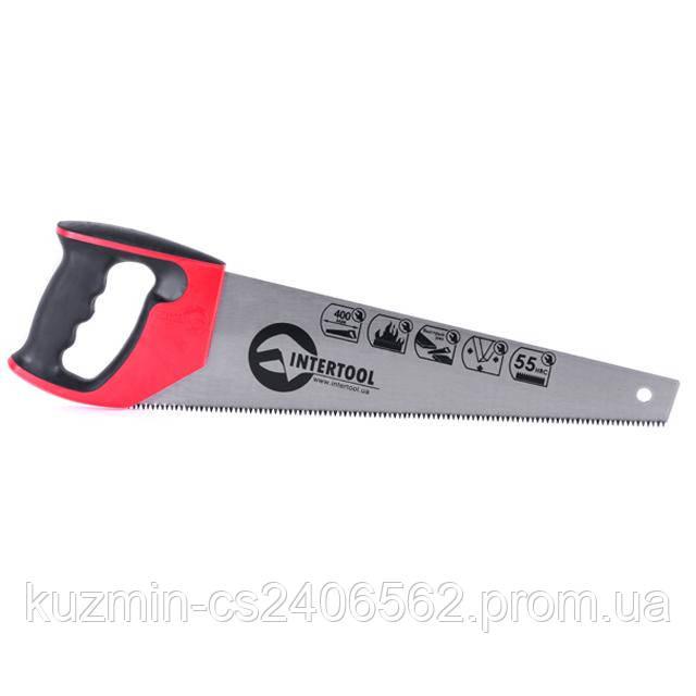 """Ножовка по дереву 400 мм с калёным зубом; 3-ая заточка 7 зуб. * 1"""" INTERTOOL HT-3104"""
