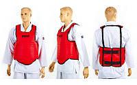 Защита груди (жилет) одностор. Кожвинил SPORTKO UR SP-4708-R ЗГ1 (р-р L, креп.на ремнях,крас)