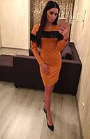 Платье женское с кожанной бахромой, фото 1