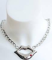 Стильная молодежная подвеска DRESS AL-10130_серебро+красн