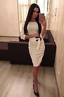 Женское трикотажное платье с поясом , фото 1