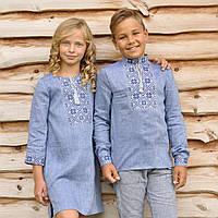 Парные вышиванки: голубая вышиванка для мальчика и голубое вышитое платье для девочки