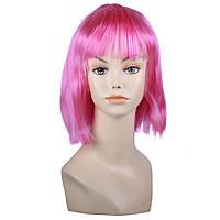 Светло-Розовый парик боб-каре с челкой