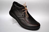 Кожаные зимние мужские ботинки мокасины натуральные Rosso Avangard. Basemokas  черные