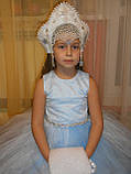 Шикарний костюм снігуроньки VIP. Дитячий костюм снігуронька прокат Київ, фото 5