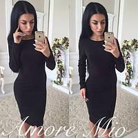 Платье женское длинный рукав черное 036