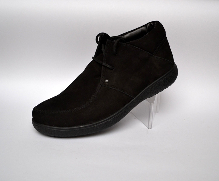 Шкіряні зимові чоловічі черевики мокасини натуральні Rosso Avangard. Basemokas Nub чорний нубук