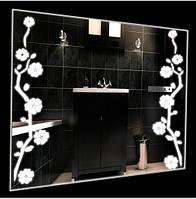 Зеркало с декором цветов 60х80 см + LED + сенсор