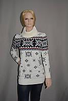 Белый длинный свитер со снежинками женский р. XS-L Украина