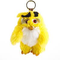 Брелок детский Птица нат. мех  желтая  Энгри Бердс ( Angry Birds )  h-15 см