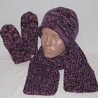 Красивый и теплый комплект шапка, шарфик и варежки