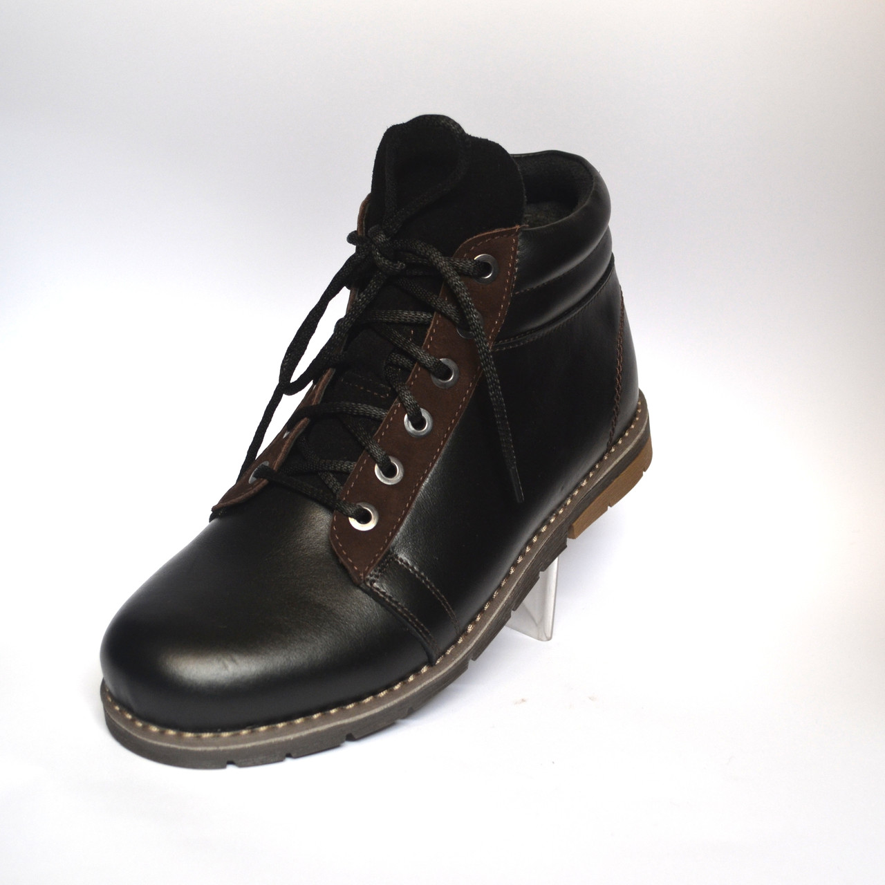 Зимові кросівки чоловічі чорні шкіряні взуття на хутрі Rosso Avangard Bridge Street