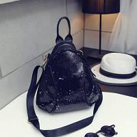 Маленький женский рюкзак в паетках, фото 1