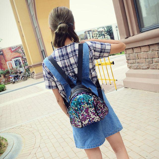 Маленький женский рюкзак в паетках
