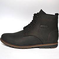 Кожаные зимние мужские ботинки  Falkoni Black Rosso Avangard. черные