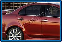 Mitsubishi Lancer X 2008+ гг. Накладки на ручки (4 шт) Carmos - Турецкая сталь