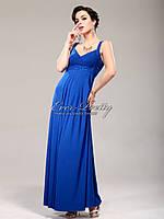 Элегантное платье на широких брителях, синее    S