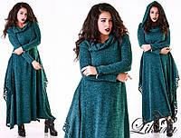 Женское модное платье MAXI 487 / батал / изумруд