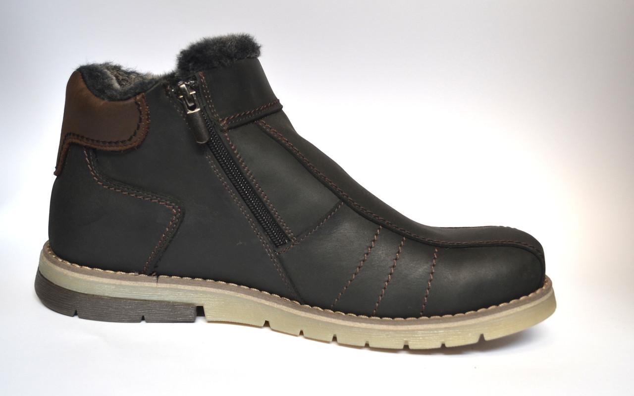 Кожаные зимние мужские ботинки Rosso Avangard. #294 Black Crazy черные