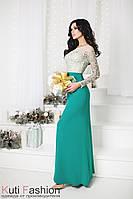 Вечернее платье Кристалл зеленое