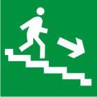 """Знак """"Напрям до евакуаційного (безпечного) виходу по сходах вниз"""" (правосторонній)"""