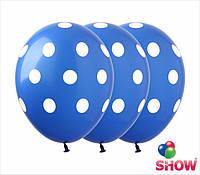 """Латексные воздушные шарики горох на синем 12"""" (30 см)  ТМ Show"""