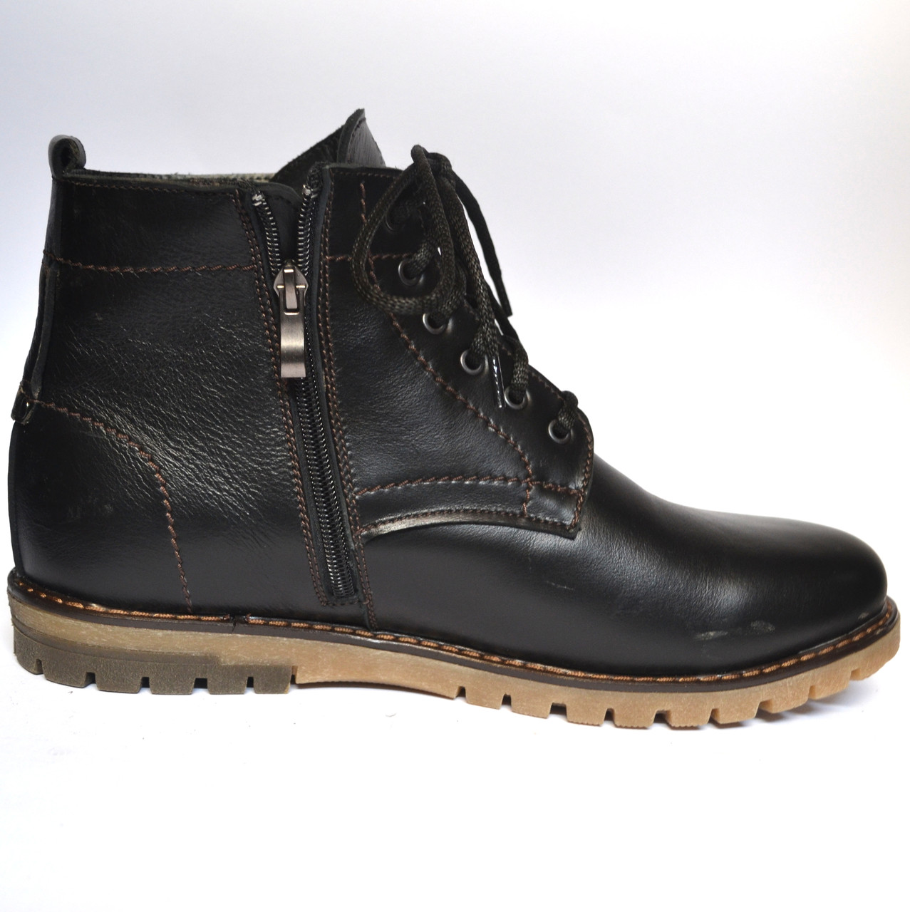 Большой размер Кожаные зимние мужские ботинки Rosso Avangard BS Falconi Black черные