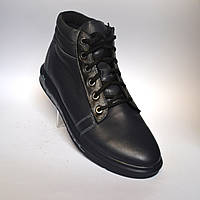 Черные зимние мужские ботинки Rosso Avangard. Original Black кожаные, фото 1