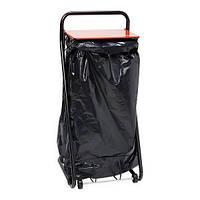 Держатель для протирочных материалов напольный черный металлический для мусорного мешка