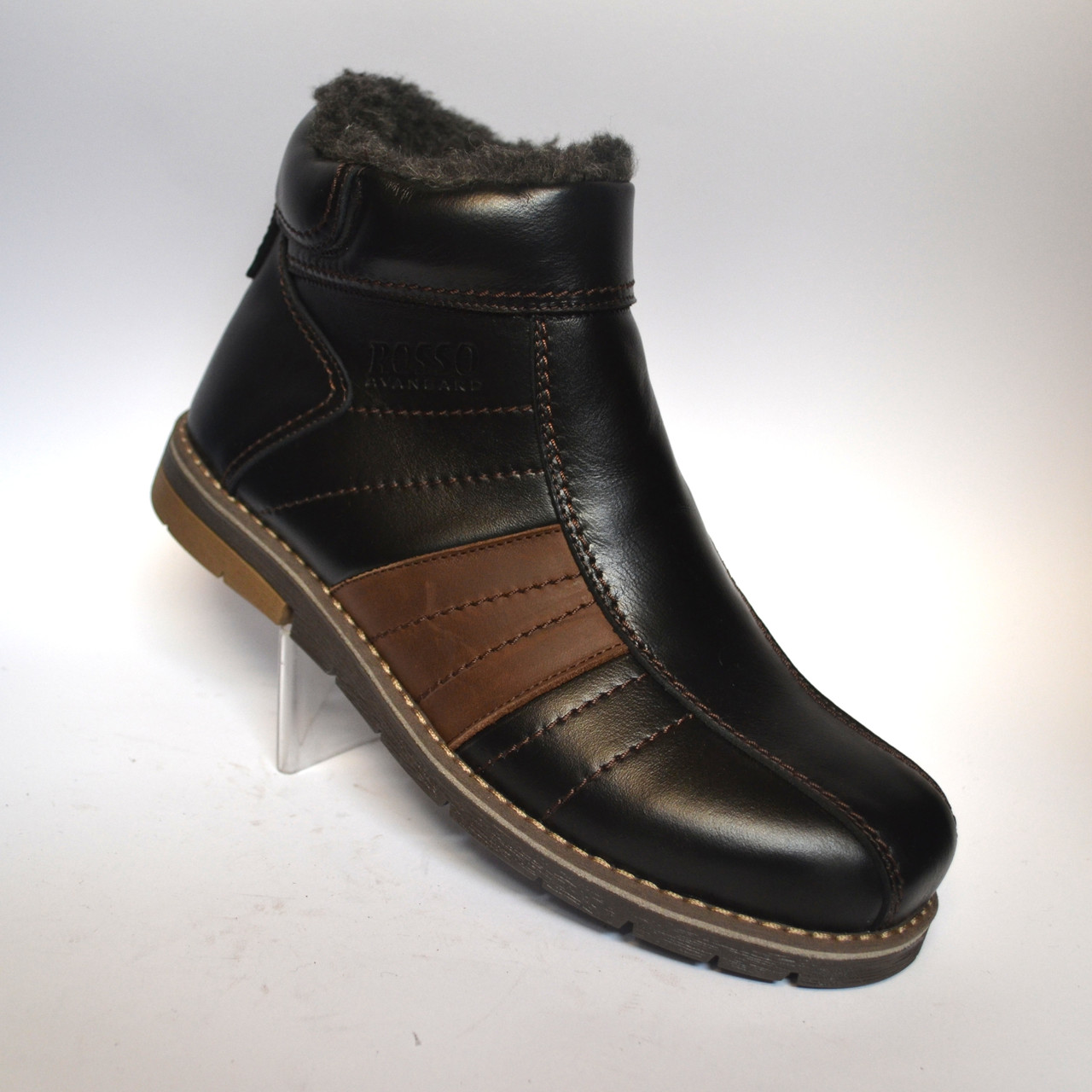 Великі розміри Шкіряні зимові чоловічі черевики Rosso Avangard #294 BS чорні