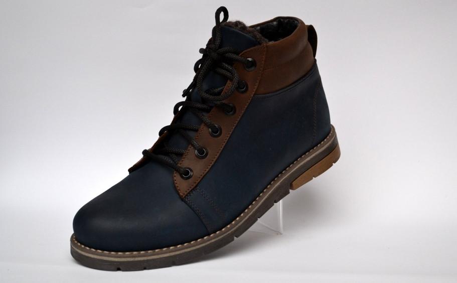 Синие зимние мужские ботинки Rosso Avangard Bridge Street Blu кожаные