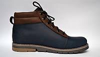 Подростковая зимняя обувь для мальчиков Teendream Синие ботинки Bridge Street Blu кожаные