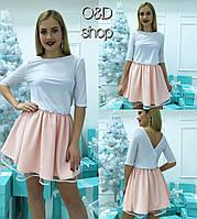 Платье приталенное с фатиновым подъюбником мини разные цвета SMc990