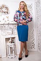 Платье с цветочный принтом Пионы р 52,54,56,58,60,62