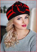 Фетровая  женская шапка таблетка красно черного и бежево коричневого цвета
