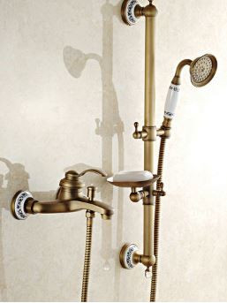Смеситель кран с лейкой, штангой и мыльницей бронза для ванной комнаты 0151