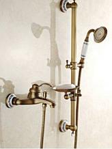Змішувач кран з лійкою, штангою і мильницею бронза для ванної кімнати 0151