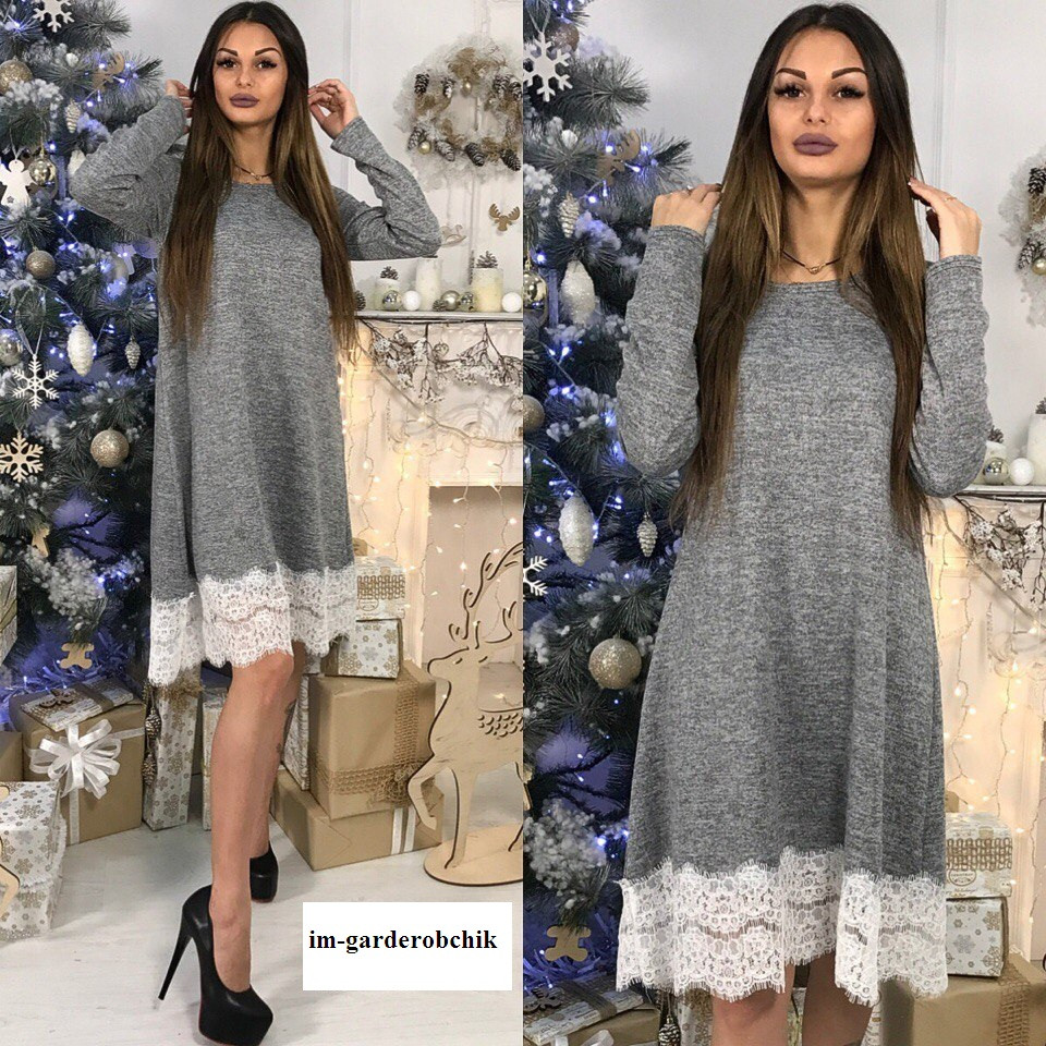 Теплое платье до колена