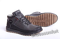 Ecco Yak Biom Black - зимние кожаные ботинки