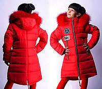 Подростковое зимнее пальто с мехом для девочки