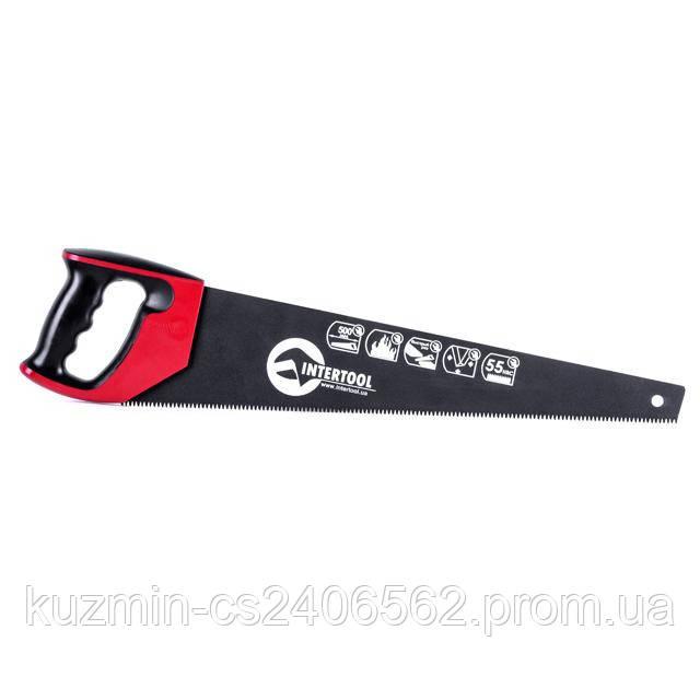 Ножовка по дереву 500мм с тефлоновым покрытием; каленый зуб; 3-ая заточка INTERTOOL HT-3109