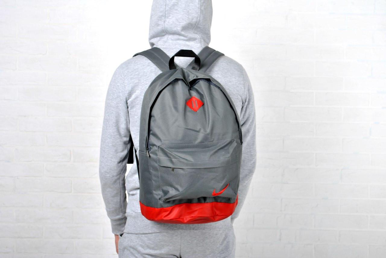 Рюкзак городской найк (Nike), серый с красным