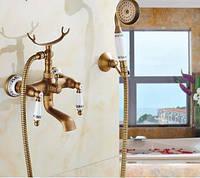 Смеситель кран с лейкой для ванной комнаты бронзовый, фото 1