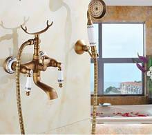 Смеситель кран с лейкой для ванной комнаты бронзовый