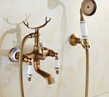 Смеситель кран с лейкой для ванной комнаты бронзовый, фото 2