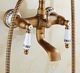 Смеситель кран с лейкой для ванной комнаты бронзовый, фото 4