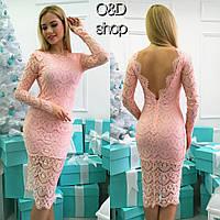 Платье с открытой спиной из гипюра на подкладке миди 3 цвета SMc991